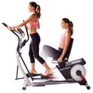 a woman uses the ProForm hybrid trainer
