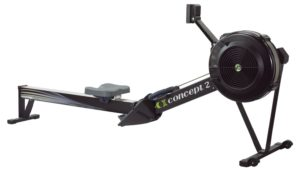 Side view of a black Concept 2 rowing machine
