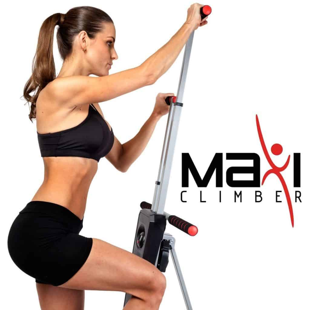 a woman uses the Maxi Climber as part of her review