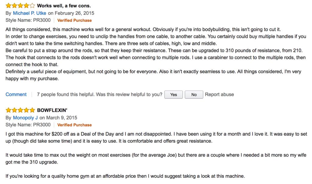 amazon bowflex reviews