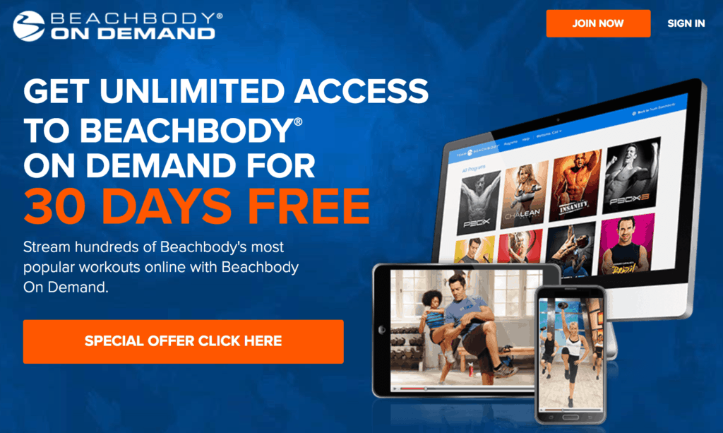beach body free trial sign up screen