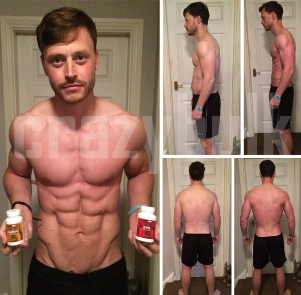 a guy shows off his amazing results with Crazy Bulk