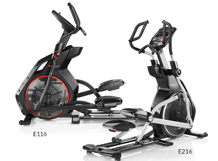 the Bowflex BXE116 and BXE216 side by side