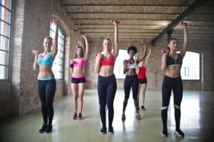 a group of women exercising