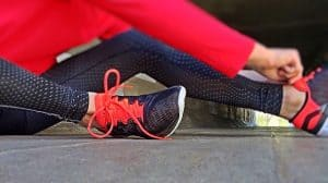 a woman gets ready to exercise