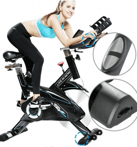 a fitness model rides a l now indoor cyclling bike