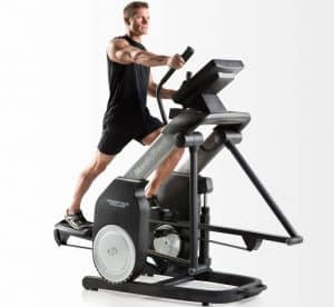a fitness model rides the nordictrack freestrider