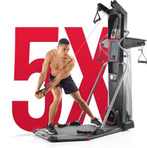 a man uses the bowflex hvt for a hitt workout