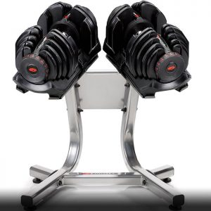a set of the SelectTech 1090 dumbbells on the rack