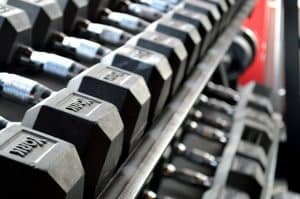 a rack of dumbbells in the gym