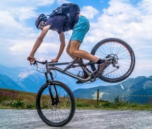 man goes for a mountain bike ride after taking some creatine