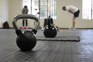 some kettle bells sit ready for a workout