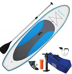 serenelife inflatable stand up paddle board kit