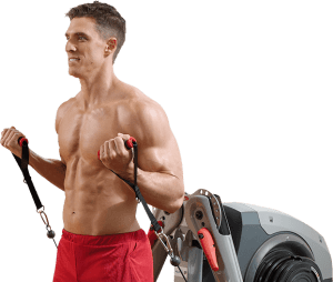a man does curls with the home gym