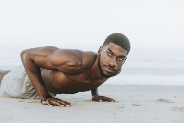 a guy doing push ups