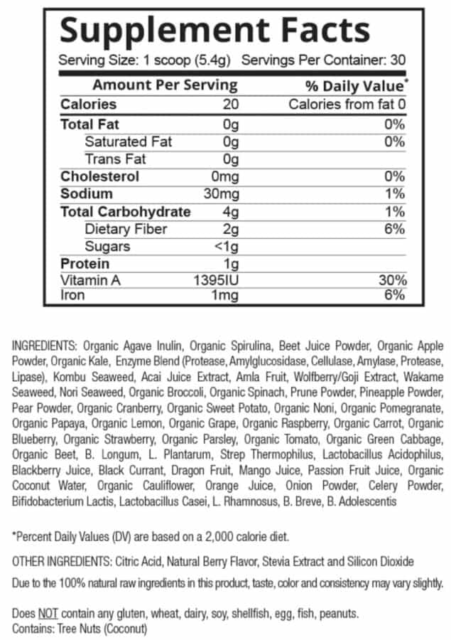 patriot power greens supplement facts label