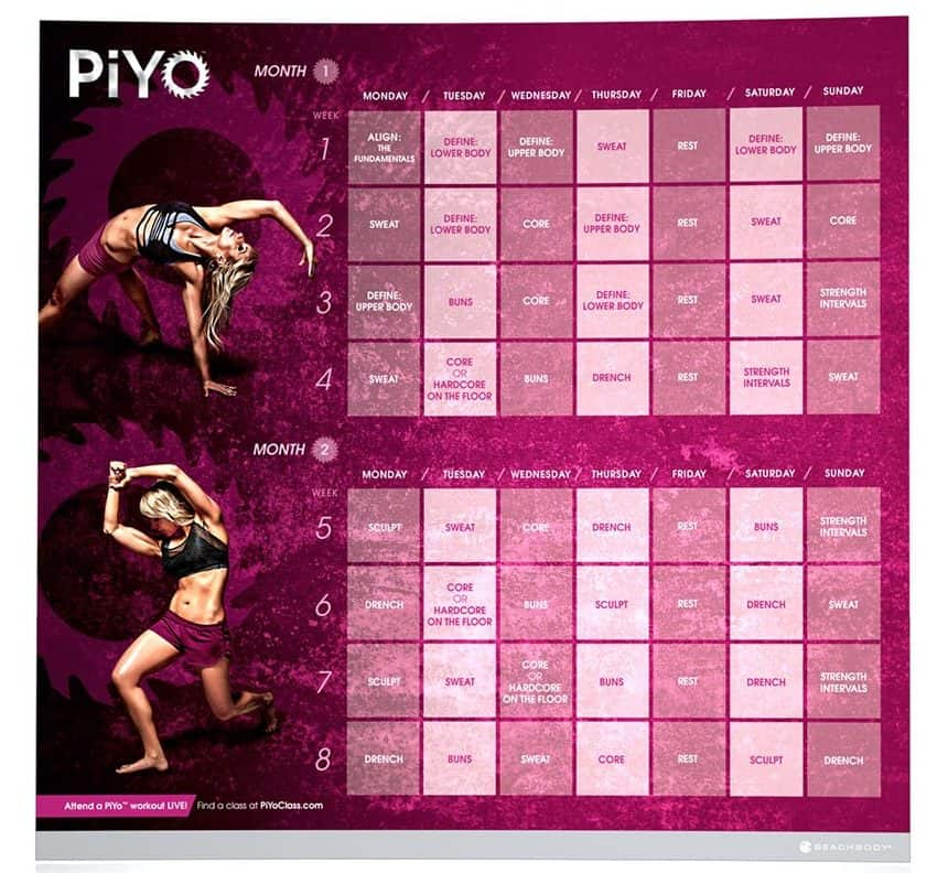 piyo schedule and calendar