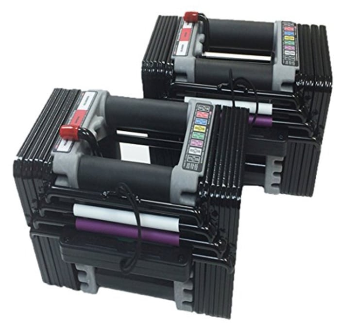 a pair of powerblock elite dumbbells