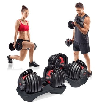 two people working out with dumbbells