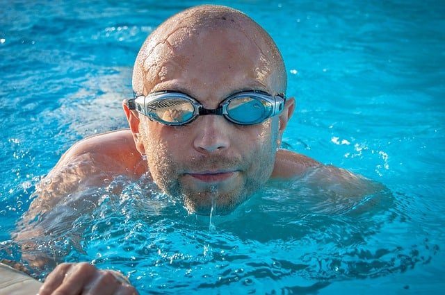 a lap swimmer in goggles