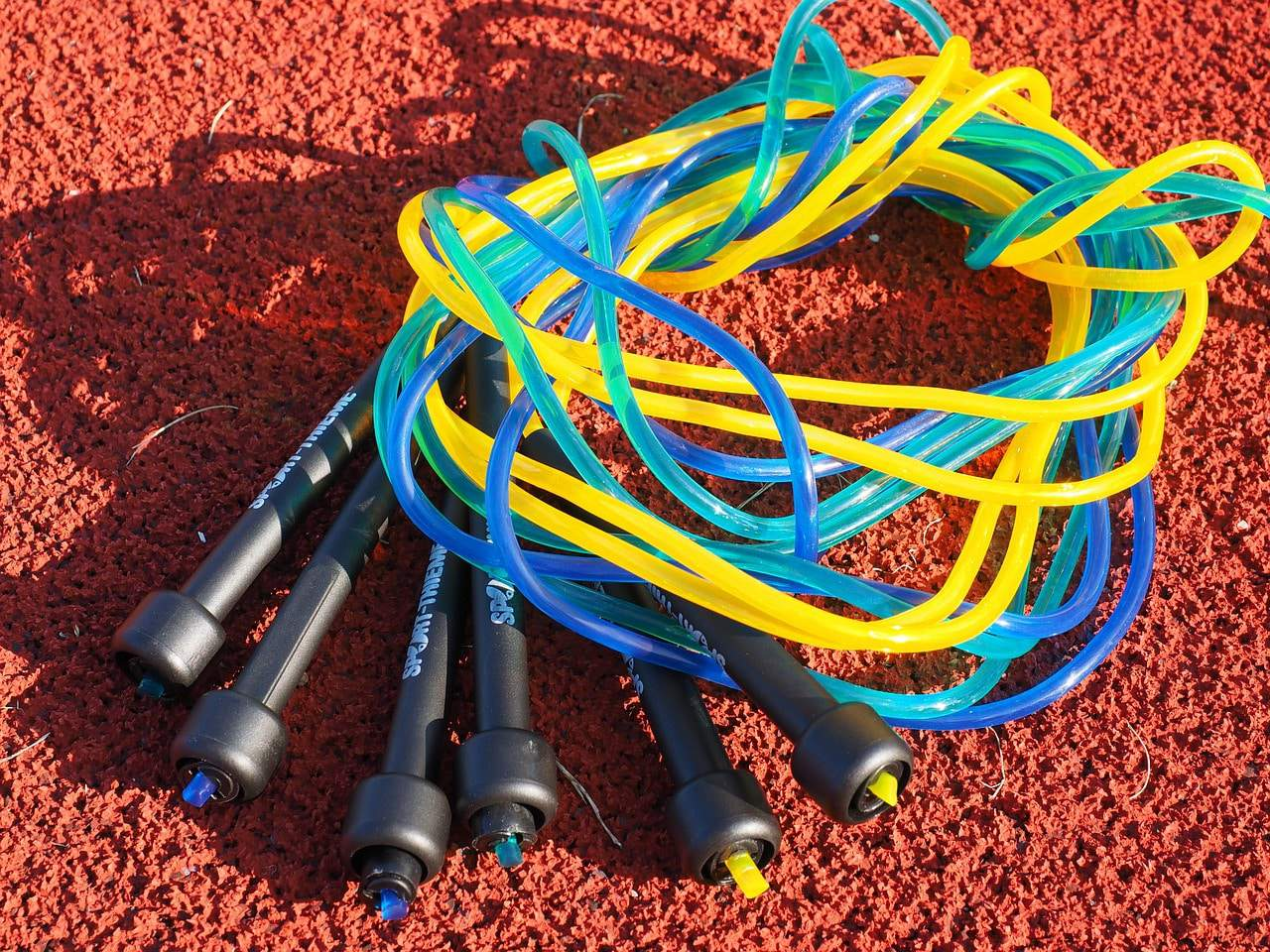 a pile of jump ropes