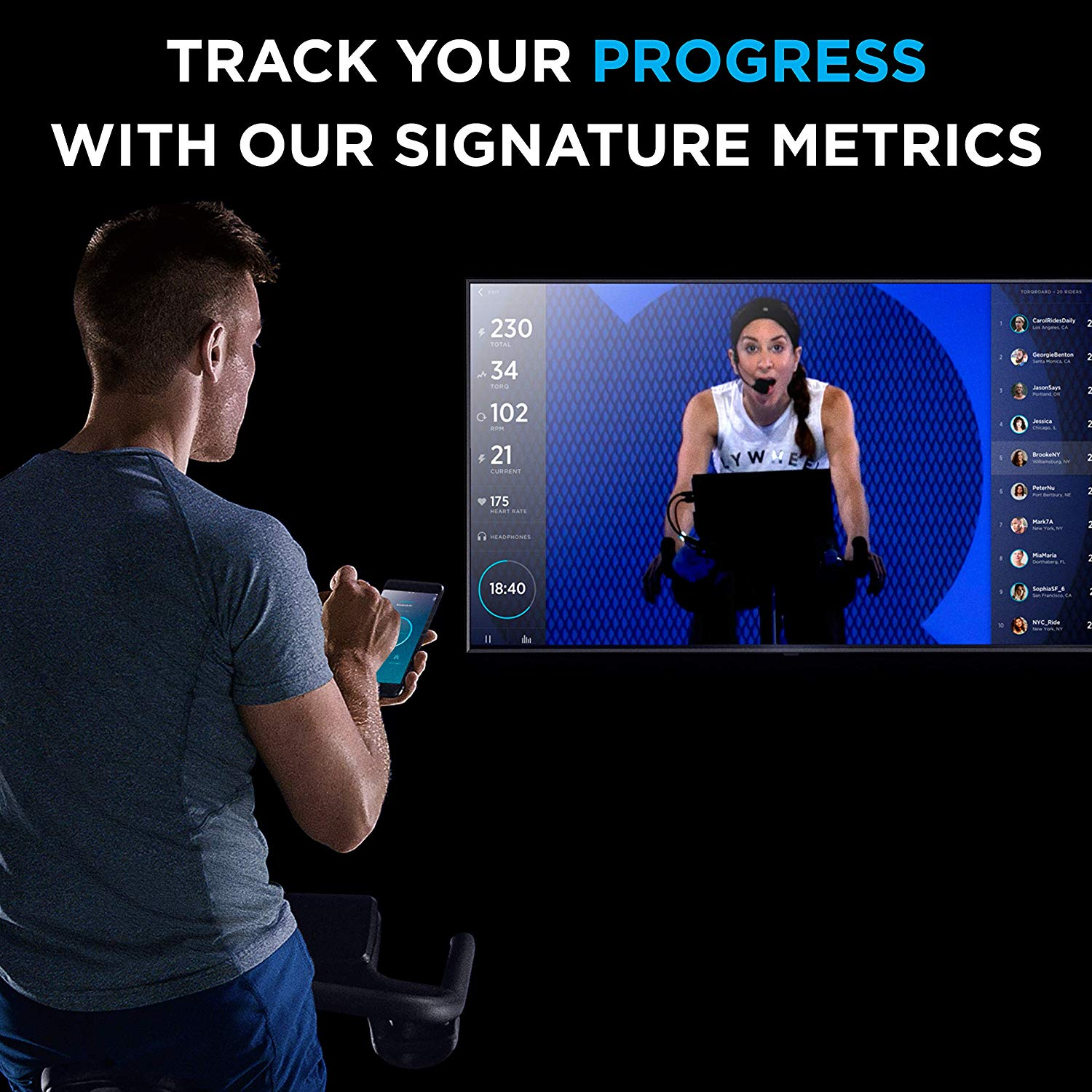 a man tracks his progress using her app